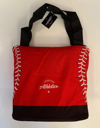 Red baseball tote bag